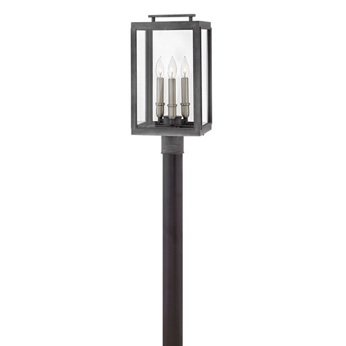 Sutcliffe Aged Zinc 10-Inch Three-Light Outdoor LED Post Top and Pier Mount