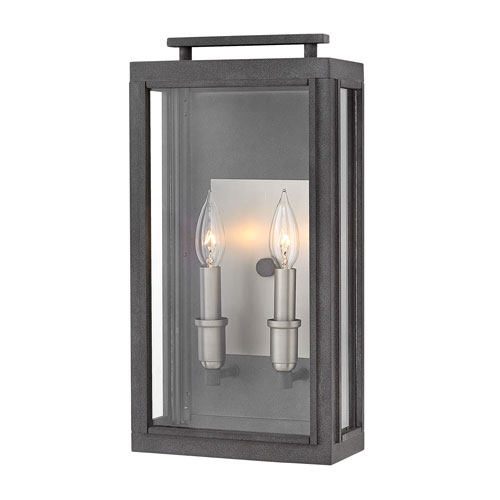 Sutcliffe Aged Zinc 9-Inch Two-Light Outdoor Medium Wall Mount