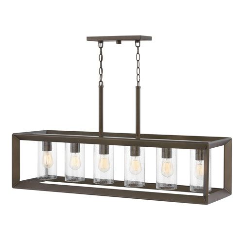 Rhodes Warm Bronze Six-Light Outdoor Linear Pendant