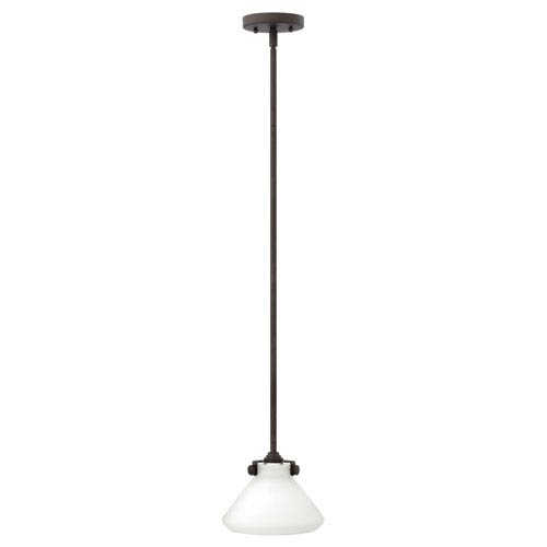 Congress Oil Rubbed Bronze 8-Inch Mini Pendant with Etched Pyramid Shade