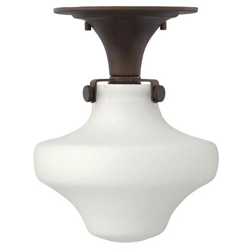 Hinkley Congress Oil Rubbed Bronze 11-Inch One-Light Semi Flush Mount with Etched Opal Glass