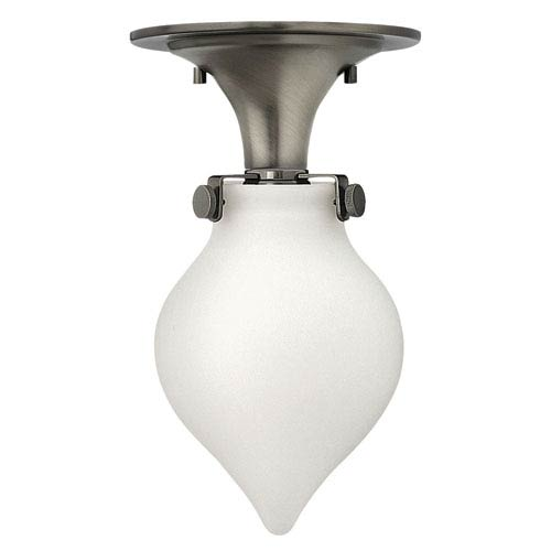 Hinkley Congress Antique Nickel 12-Inch One-Light Semi Flush Mount with Etched Opal Teardrop Shade