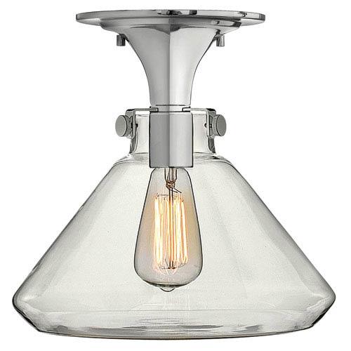 Hinkley Congress Chrome 12-Inch Hand Blown Clear Glass One-Light Semi Flush Mount