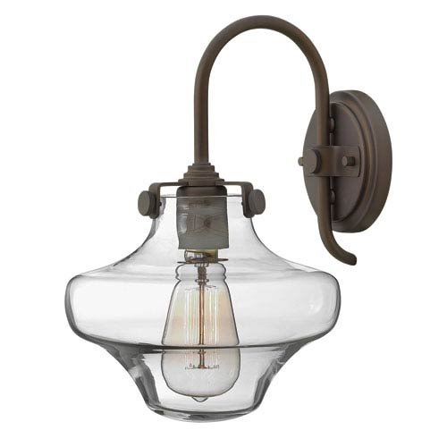 Congress Oil Rubbed Bronze 13-Inch Hand Blown Clear Glass One-Light Sconce