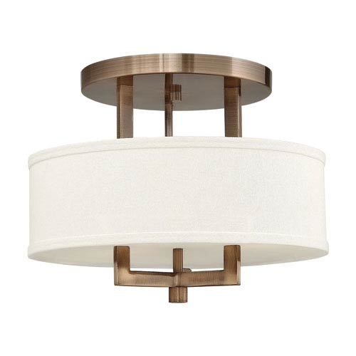 Hinkley Hampton Brushed Bronze 15 Inch Semi Flush Ceiling Light