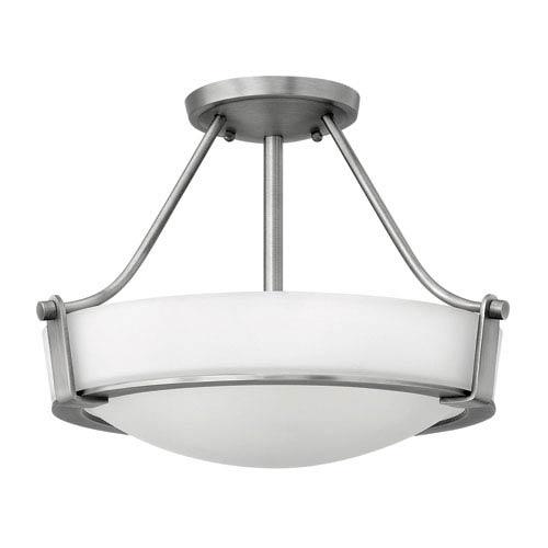 Hinkley Hathaway Antique Nickel Two Light LED Semi-LED Flush Mount