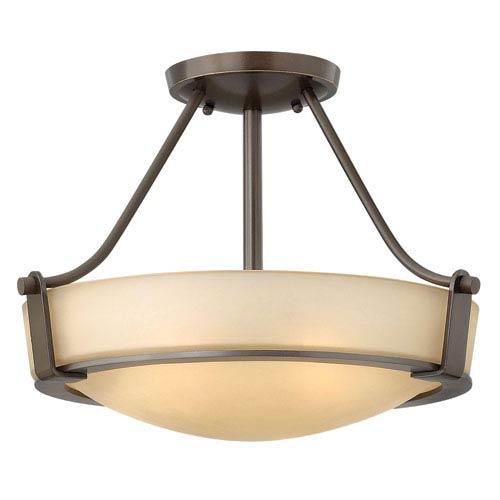 Hathaway Olde Bronze Three-Light Semi-Flush