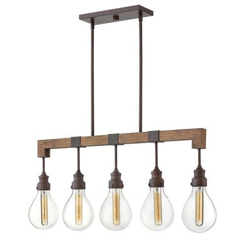 Denton Industrial Iron Five-Light Linear Pendant