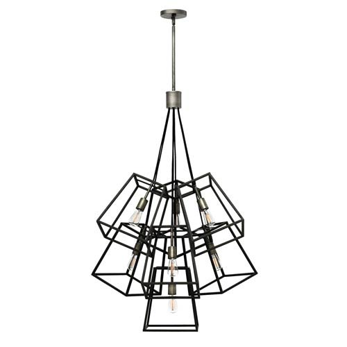 Fulton Aged Zinc Seven-Light Pendant