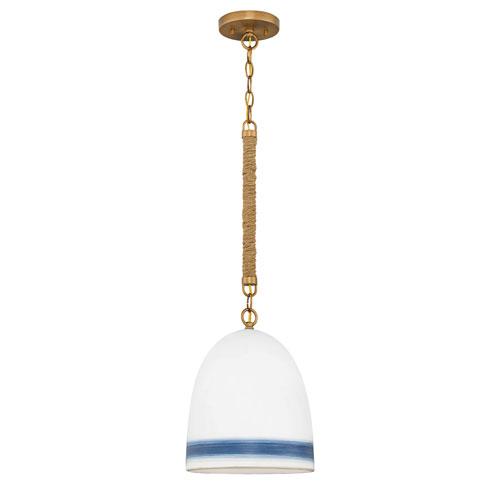 Hinkley Nash Heirloom Brass with Navy Stripe One-Light Pendant