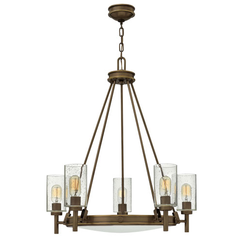 Craftmade Winton Weathered Pine And Bronze Five Light 19