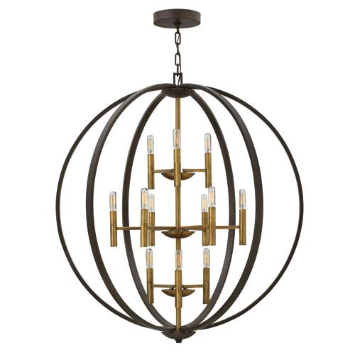 Euclid Spanish Bronze Twelve-Light Foyer Pendant