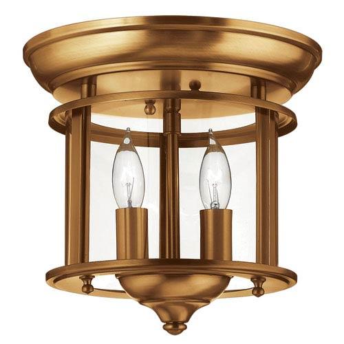 Gentry Heirloom Brass 9.5-Inch Two-Light Flush Mount