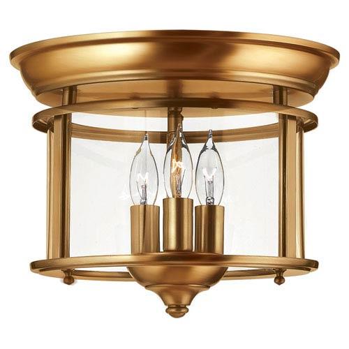 Gentry Heirloom Brass 11.5-Inch Three-Light Flush Mount