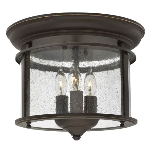 Gentry Olde Bronze 9.5-Inch Three Light Flush Mount