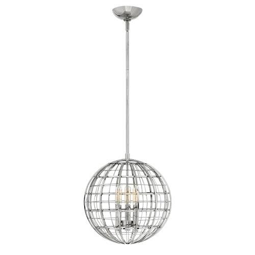 Terra Polished Nickel 13-Inch Three-Light Single Tier Globe Pendant