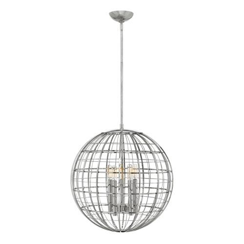 Terra Polished Nickel 19-Inch Five-Light Single Tier Globe Pendant