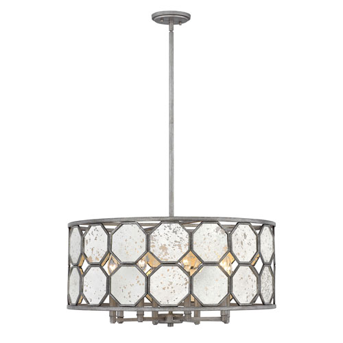 Lara Brushed Silver 26-Inch Eight-Light Single Tier Drum Pendant
