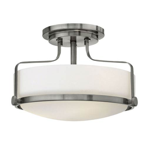 Hinkley Harper Brushed Nickel Three Light Semi Flush Mount