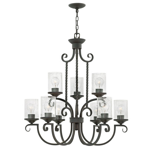Casa Olde Black 29-Inch Nine-Light Three Tier Chandelier