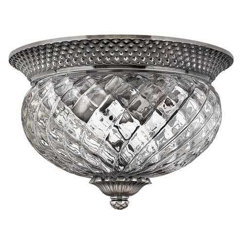 Plantation Polished Antique Nickel Two-Light Flush Ceiling Light