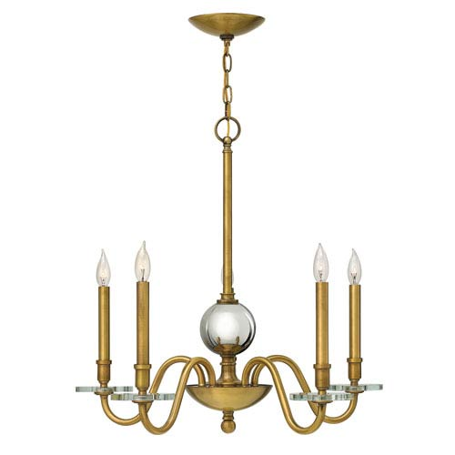 Everly Heritage Brass Five Light Chandelier