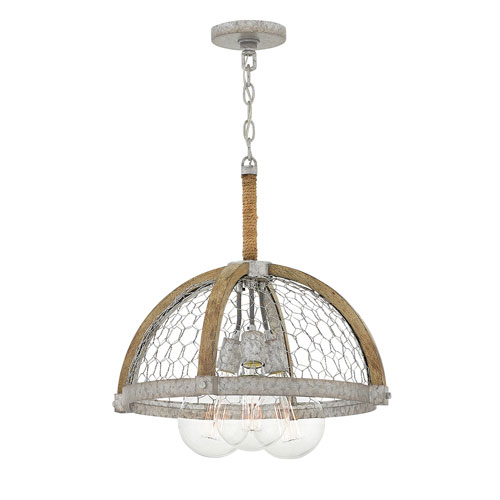 Heywood Weathered Zinc 19-Inch Three-Light Single Tier Pendant