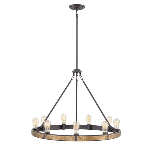 Hinkley Everett Bronze Nine-Light Chandelier