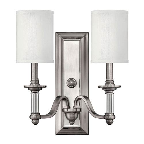 Hinkley Sussex Brushed Nickel Two-Light Wall Sconce with Two Shades