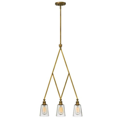 Hinkley Gatsby Heritage Brass Three Light Pendant