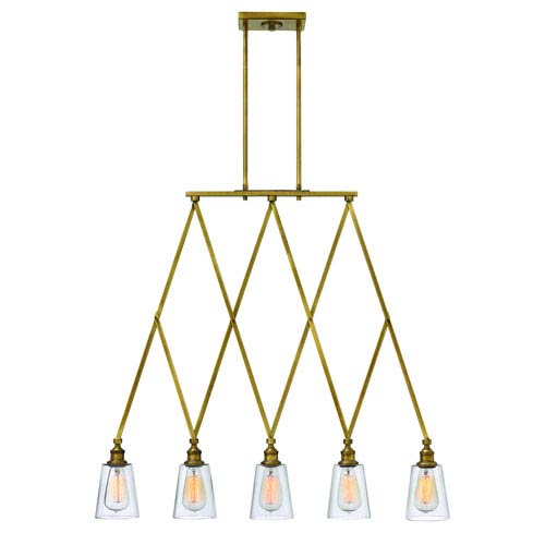 Hinkley Gatsby Heritage Brass Five Light Pendant