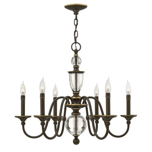 Eleanor Light Oiled Bronze Six-Light Chandelier