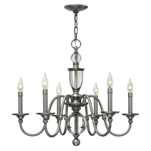 Hinkley Eleanor Polished Antique Nickel Six Light Chandelier