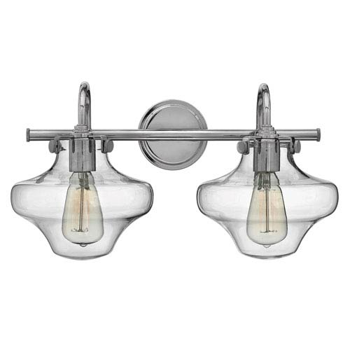 Hinkley Congress Chrome 20-Inch Two-Light Bath Fixture with Hand Blown Clear Glass