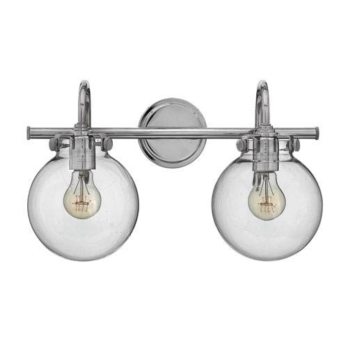 Hinkley Congress Chrome 11.5-Inch Two-Light Bath Fixture