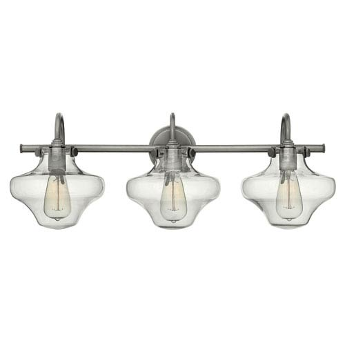 Hinkley Congress Antique Nickel 30-Inch Three Light Bath Fixture with Hand Blown Clear Glass