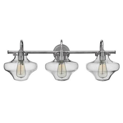 Hinkley Congress Chrome 30-Inch Three-Light Bath Fixture with Hand Blown Clear Class