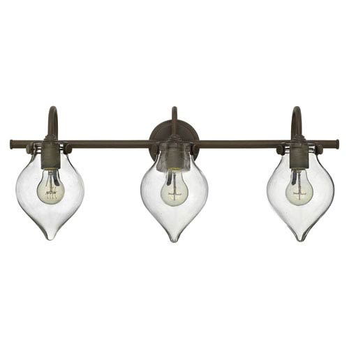 Hinkley Congress Oil Rubbed Bronze 29.5-Inch Three Light Bath Fixture with Hand Blown Clear Glass