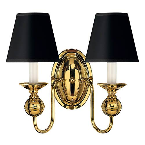 Virginian Polished Brass Two-Light Sconce