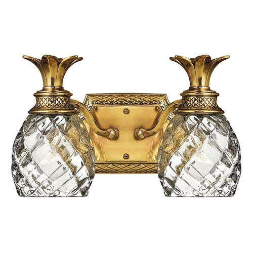 Plantation Burnished Brass Two-Light Bath Fixture