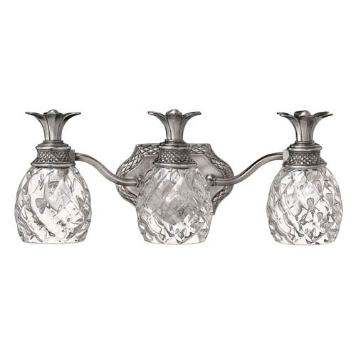 Plantation Nickel Three-Light Bath Fixture