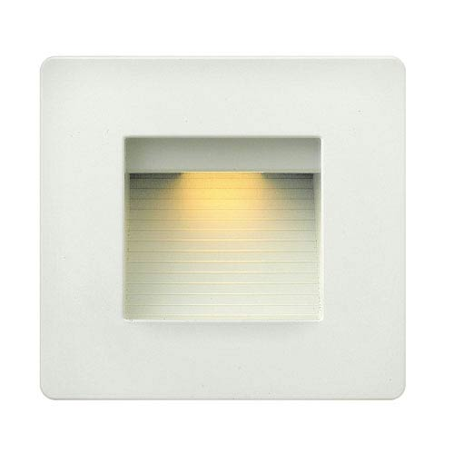 Luna Satin White Line Voltage Square LED Landscape Deck Light