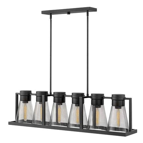 Hinkley Refinery Black Linear Pendant with Smoked Glass
