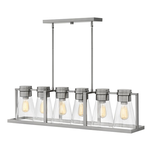Hinkley Refinery Brushed Nickel with Clear Six-Light Stem Hung Linear Pendant