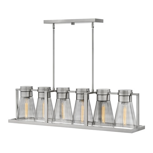 Hinkley Refinery Brushed Nickel with Smoked Six-Light Stem Hung Linear Pendant