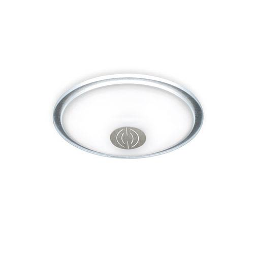 Opalika Satin Nickel and Hammered Silver Three-Light Flush Mount with Dekor Center