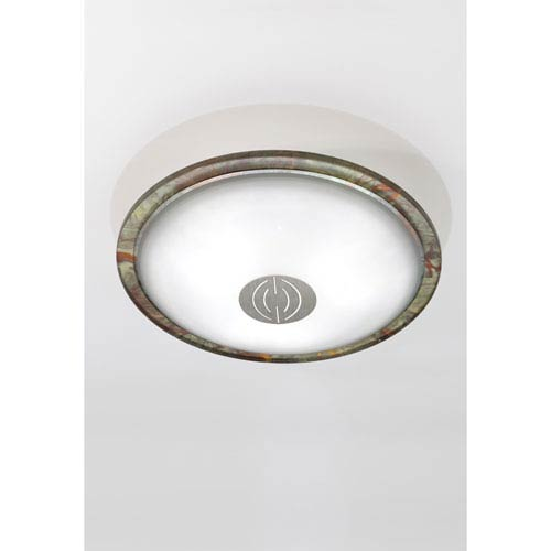 Opalika Satin Nickel and Patina Bronze Three-Light Flush Mount with Dekor Center