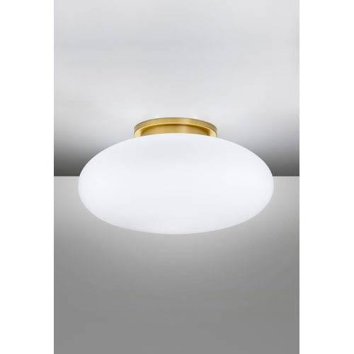 Brushed Brass Semi-Flush Mount w/ Satin White Glass