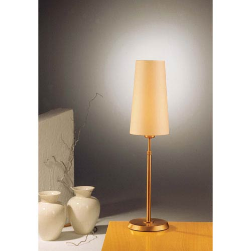 Antique Brass One-Light Table Lamp with Narrow Kupfer Shade