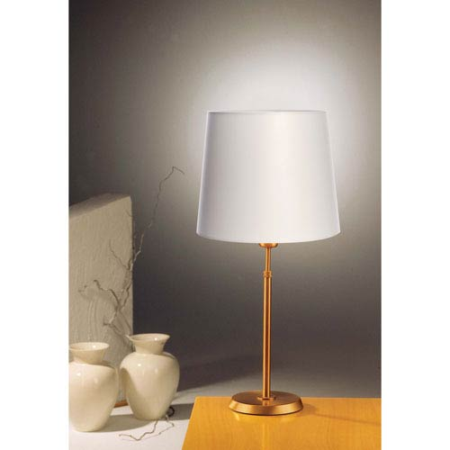 Antique Brass One-Light Table Lamp with Regular Satin White Shade